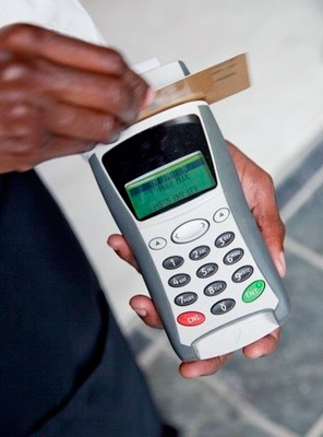 swipe a credit card in a wireless terminal